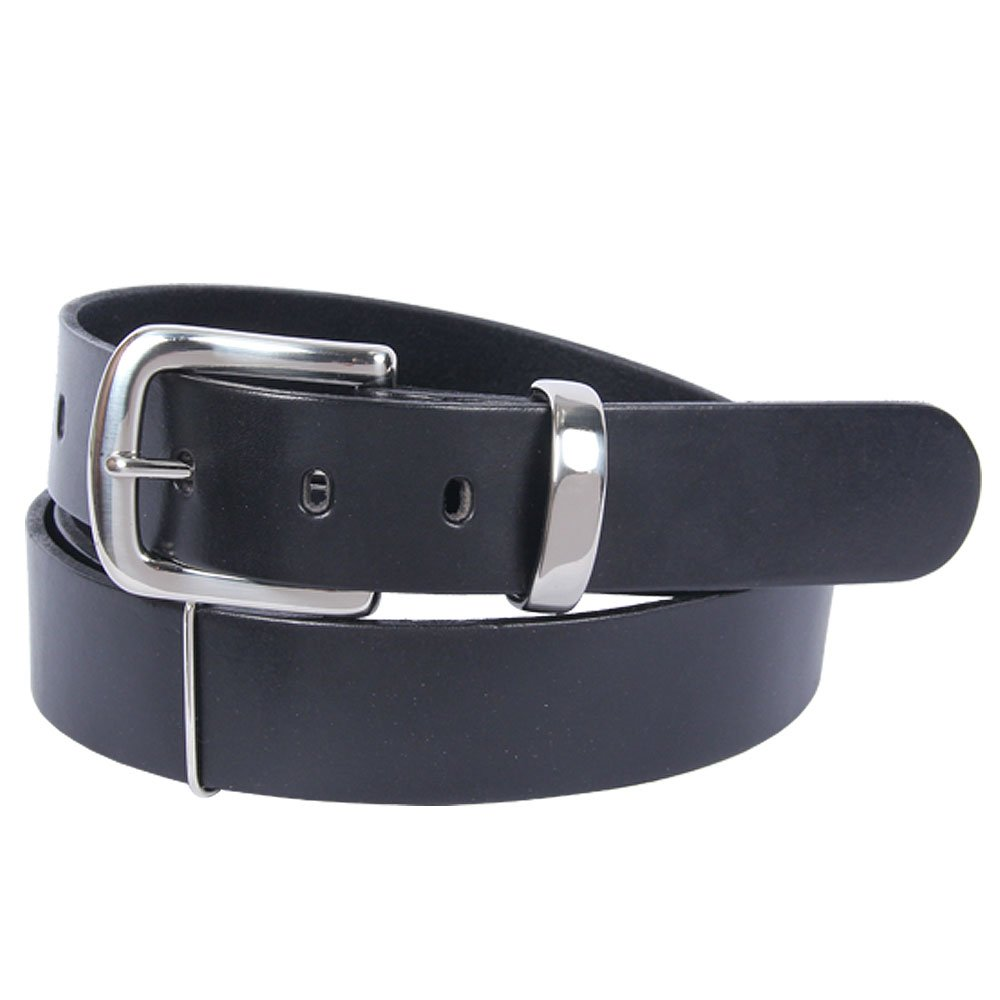 Black Leather Classic Mens Belt Adjustable No. 4 Large USA Made Italian Bridle Leather Unique 1 3/8 inches wide