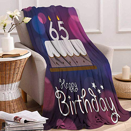 65th Birthday Lightweight Blanket Birthday Ceremony Artwork with Cake Hand Writing Calligraphy Best Wishes Digital Printing Blanket 50x30 Inch Blue Pink White -