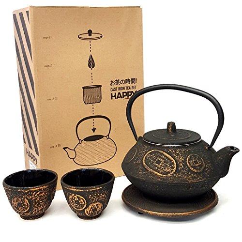 Happy Sales HSCT-CNG09 Cast Iron Tea Pot Tea Set Ancient Coin Gold