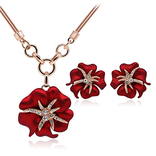 Red Gold Necklace Crystal (Kemstone Attractive Rose Gold Crystal Red Flower Necklace Earrings Jewelry Sets, 15