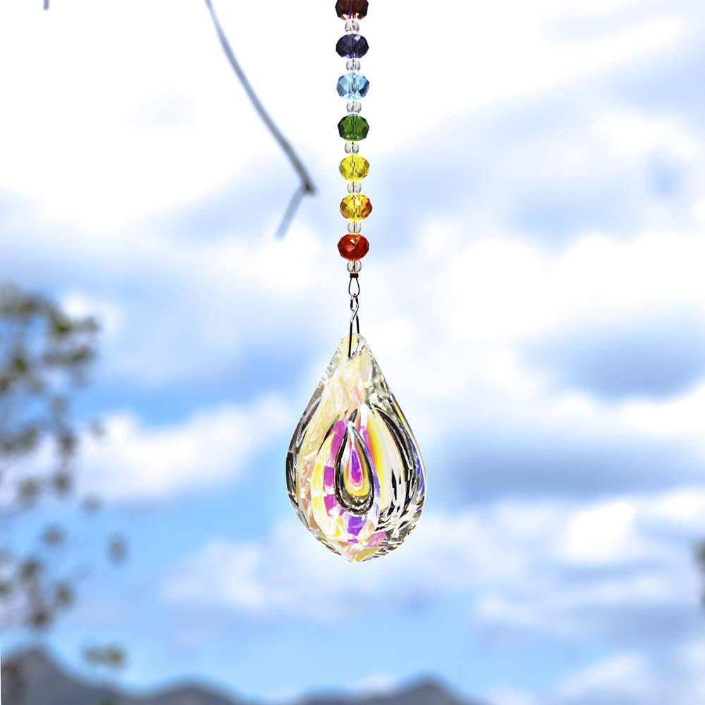 WEISIPU Crystals Ball Prisms Suncatcher Hanging Ornament Crystals Colorful Crystal Pendants for Home, Office, Garden Decoration, Car Pendant, Birthday Present