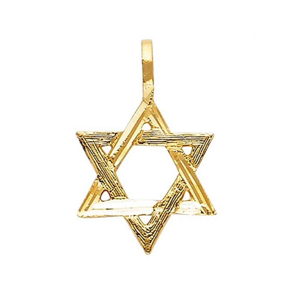 14k Yellow Gold Shield of David Handmade Pendant