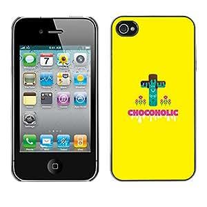 Qstar Arte & diseño plástico duro Fundas Cover Cubre Hard Case Cover para Apple iPhone 4 / iPhone 4S / 4S ( Chocoholic Sweets Sugar Danger Diet Healthy Food)