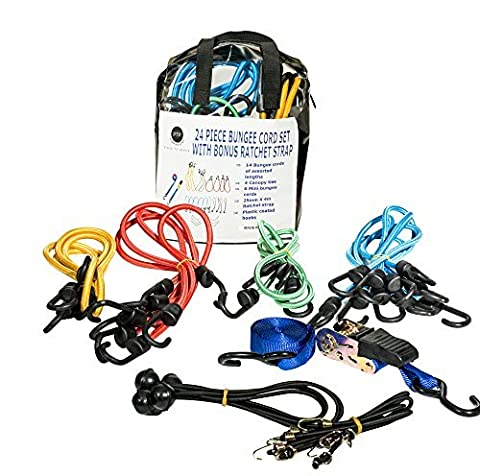Piece To Peace 25 Piece Heavy Duty Bungee Cord Assortment Set. Canopy Tie Downs & EXCLUSIVE Ratchet Strap. Storage Bag. Truck, Luggage, Cargo, Motorcycle, Bicycle, Hiking, Camping, Roof - Motorcycles Neon Clock