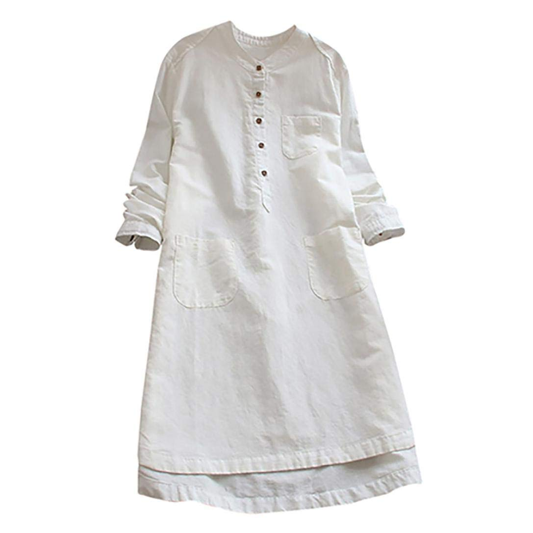 Women Clothing, LILICAT Women Solid Retro Long Sleeve Button Cotton Linen Tops Blouse Women Casual Loose Long Blouse T-Shirts Elegant Mini Dress Plus Size M-XXXL