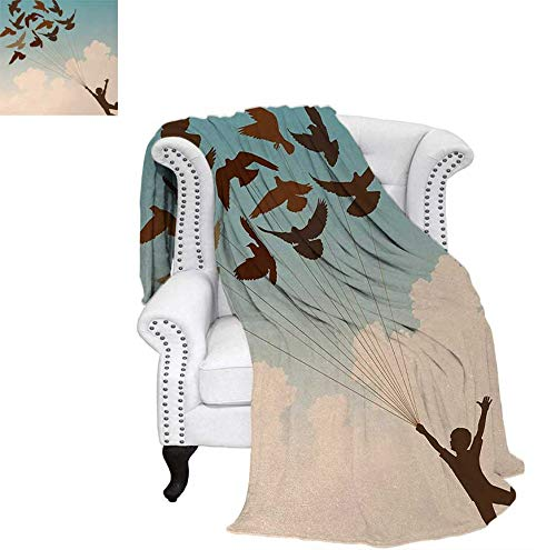 Custom Design Cozy Flannel Blanket Silhouette of Boy Carried by Flying Pigeons Inspiration Follow Your Dreams Print Home Weave Pattern Blanket 62