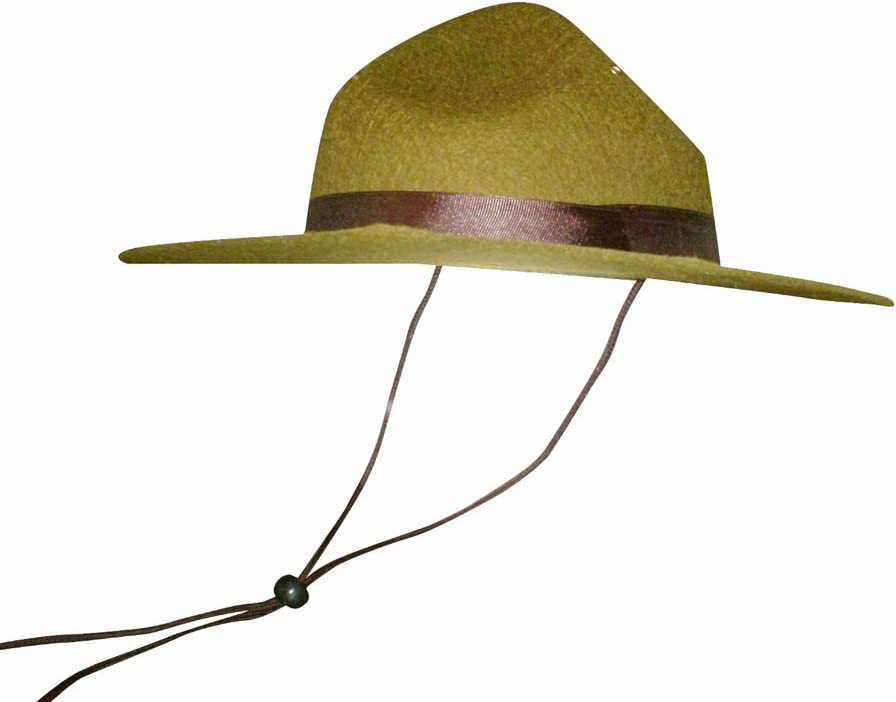 Olive Green Park Ranger/Mountie/ Smokey Bear Hat-One Size Fits Most Adults