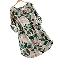 XuanYing Women's Floral Long Sleeve Linen Blouse Dress - Floral