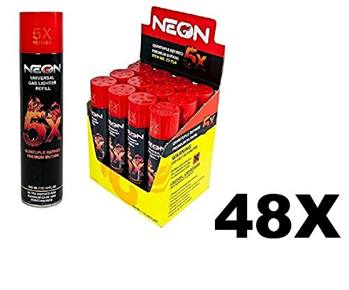 Neon Universal Gas Lighter Refill- 5X Refined Premium Butane 48 Pack (48 Count Refill)