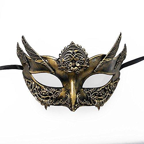 Roman Warrior Venetian Masquerade Mask - Greek Venetian Masquerade Mask - Metallic Sun God Mask - Mardi Gras Costume Gold/Ivory ()