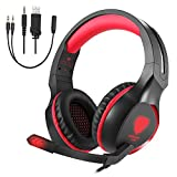 Gaming Headset, Makibes Stereo Over Ear Noise Cancelling Wired Headphones with Microphone LED Light for PS4, Xbox One, Nintendo Switch, PC Red