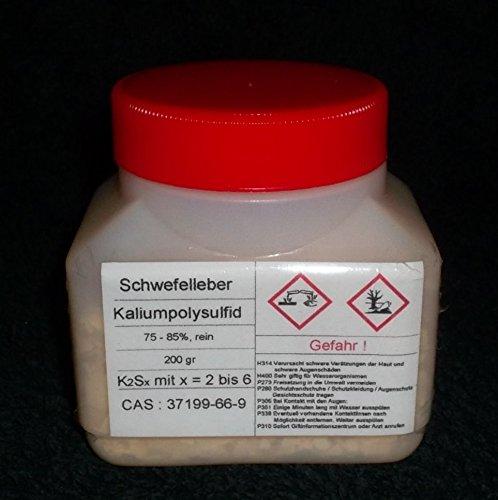 200 g Schwefelleber, Kaliumpolysulfid K2Sx (75-85% rein) Kupfer, Silber beizen (künstlich altern lassen)