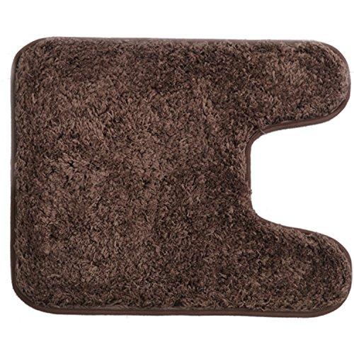 HAOCOO Shaggy Contour Bath Rug, U-Shaped Toilet Floor Rug Mats Carpet Non-Slip,Water Absorbent, Machine-Washable, Soft Thick Plush Bathroom Rug(20x24U inch, Brown)