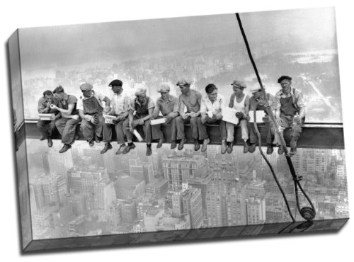 Panther Print High Definition Lunch Atop A New York Skyscraper Cross Beam Girder Canvas Art Print 20X30 Inches A1