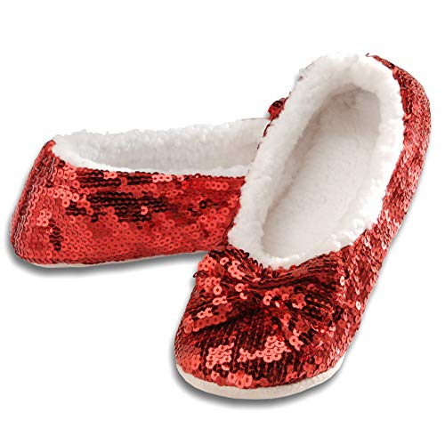 Snoozies Women's Ballerina Metallic Shine Red Sequin Slippers-Large (9-10) -