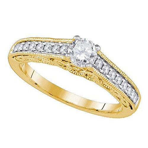 Hand Engraved Engagement Setting (0.68 Carat (ctw) 14K Yellow Gold White Diamond Hand Engraved Engagement Ring With 0.40 CT Round Center)