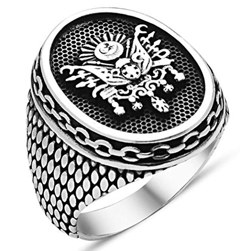 Solid 925 Sterling Silver Turkish Ottoman Coat of Arm Men's Ring (8.5) ()