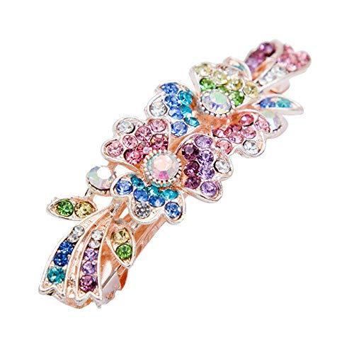Flower Barrette Hair Clips Hairpin Hair Pin Rhinestone Crystal Metal For Girl (Color - colorful #1)