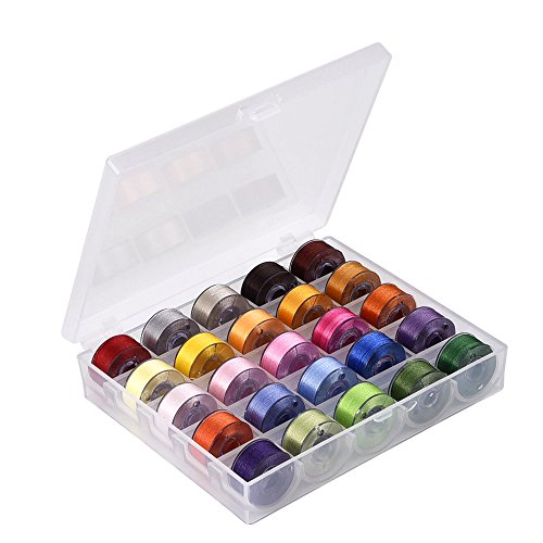 eBoot Bobbin Case Organizer with 25 Clear Sewing Machine Bobbins and Assorted Colors Sewing Thread for Brother/ Babylock/ Janome/ Kenmore/ Singer (Sewing Machine And Case compare prices)