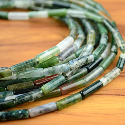 Green Moss Agate Tube Beads Cylinder 4x13mm Beads - One 15 inches Strand