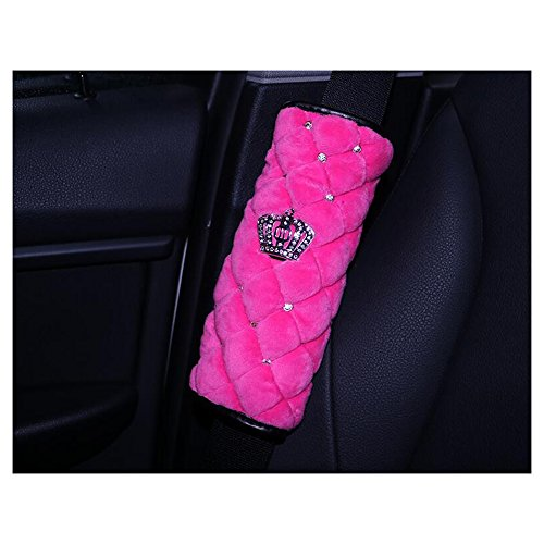 (LuckySHD 2 Pcs Plush Car Seat Belt Cover Shoulder Pad with Rhinestone Crown -)