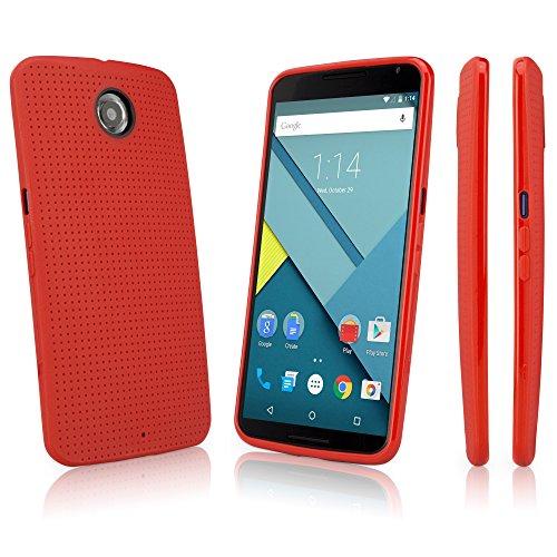 Google Nexus 6 Case, BoxWave [SlimGrip Case] Slim, Durable, Anti-Slip TPU Cover for Google Nexus 6 - Scarlet Red (Nexus 6 Case Pattern)