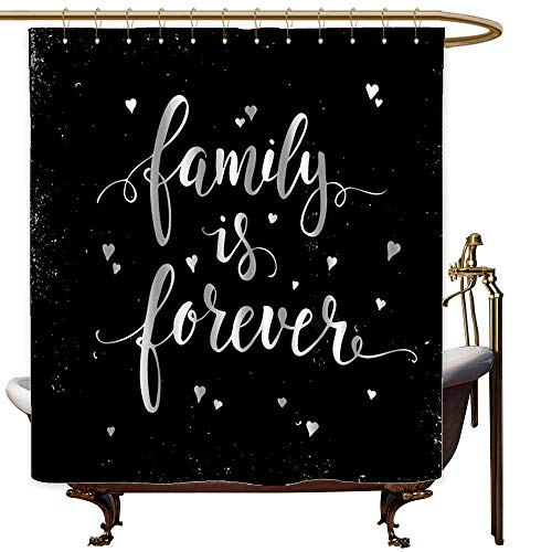 Custom Shower Curtain,Family Family is Forever Hand Drawn Typography with Little Cute Hearts Poster Style,goof Proof Shower,W55x84L,Black and White