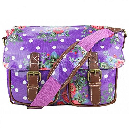 Miss LuLu Schultaschen Wachstuch Crossbody Öl-Stoff-Umhängetasche mit Drucken Unisex (L1107-Blumen/Dunkelblau) L1107-Blumen/Violett 1M7WD3Dex
