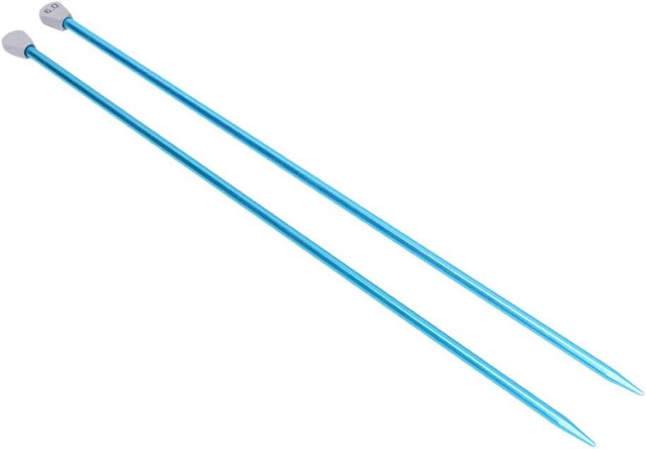 2 agujas de tejer rectas de aluminio, punta única, herramienta de tejer 6.0 Mm as picture