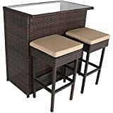 Sunnydaze Melindi 3-Piece Wicker Rattan Outdoor Patio Bar Set with Tan Cushions Review