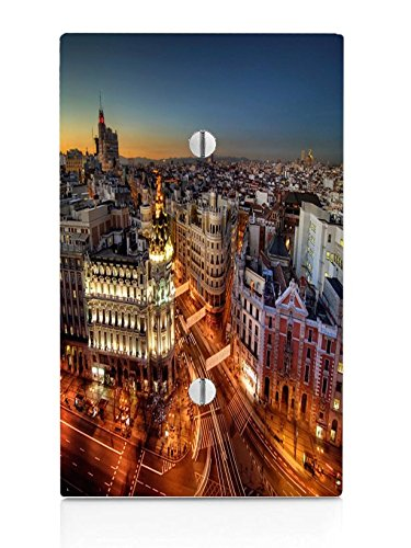 Popular Madrid at Night Print Single Blank Electrical Switch Plate by LE Prints