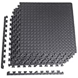 Cap Barbell 1/2 Puzzle Exercise Mat with EVA Foam Interlocking Tiles, 144 Square Ft (36 Tiles + Borders)