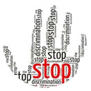 alfombrilla de ratón Detener la discriminación de nube de palabras en la forma de una palma, aislado - ronda - 20cm