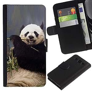 Be Good Phone Accessory // Caso del tirón Billetera de Cuero Titular de la tarjeta Carcasa Funda de Protección para Samsung Galaxy S3 III I9300 // Funny Hungry Panda