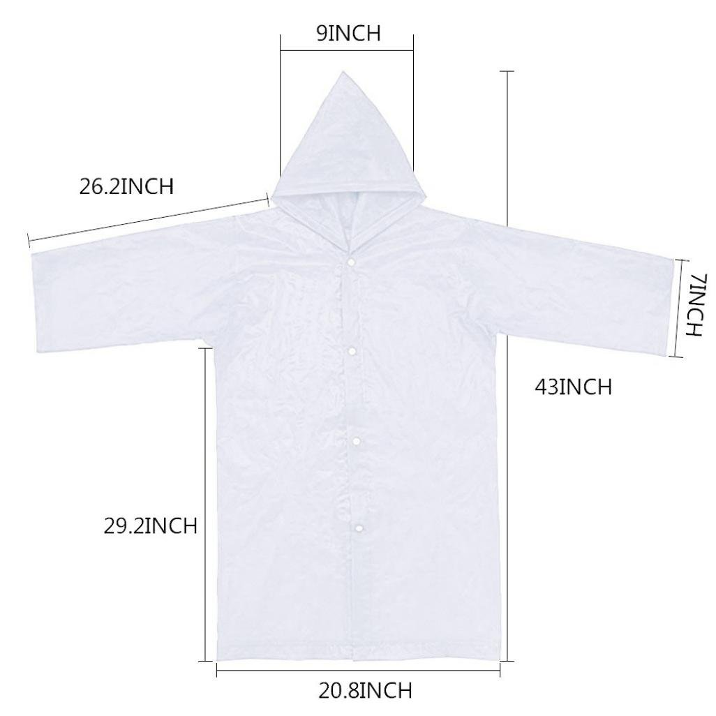 Tpingfe Portable Reusable Raincoats Children Rain Ponchos For 6-12 Years Old, 1PC (Clear) by Tpingfe (Image #5)