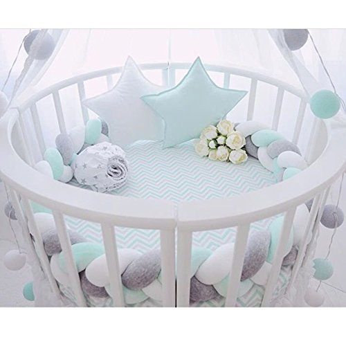 Baby Braided Crib Bumpers Long Knot Pillow Cushion,Nursery Bedding Cot Safety Fence Stroller Bumpers Room Decor (Grey-White-Mint, 400CM) from Mofeng