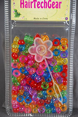 Hair Beads Acrylic Round Beads for Braids and Twists (Clear Multi Colored)