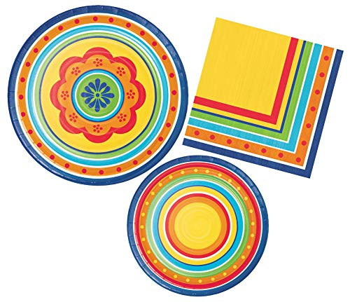 Fiesta Painted Pottery Party Supply Bundle Includes Paper Plates and Napkins for 8 Guests