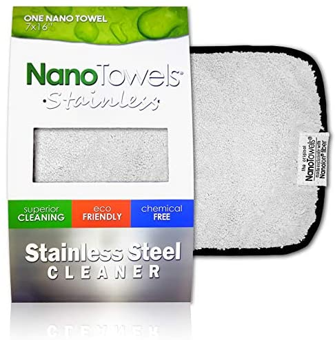 "Nano Towels Stainless Steel Cleaner | The Amazing Chemical Free Stainless Steel Cleaning Reusable Wipe Cloth | Kid & Pet Safe | 7x16"" (1 computer)"