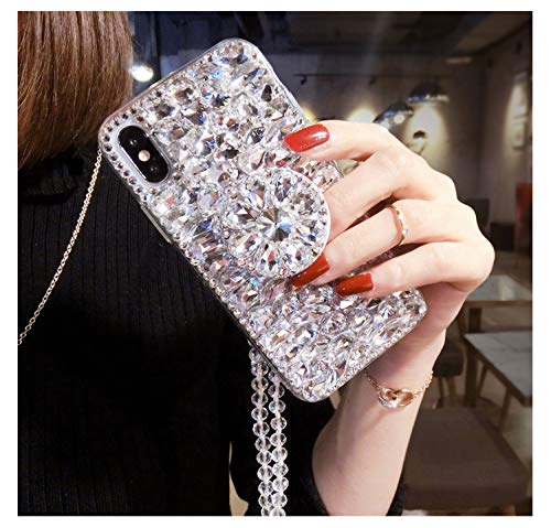 Handmade Airbag Kickstand Case, Bling Diamond Cover, Luxury Handmade Bling Diamond Crystal Strap Rhinestone Gems Stand Holder Necklace Case Cover for LG (Clear, for LG Stylo 4)