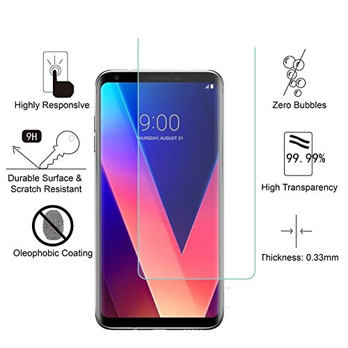 Aliga Glass Screen Protector for LG V30, [ 3-Pack ] 9H Hardness 2.5D Tempered Glass for LG V30 Bubble-Free Glass Screen Protectors for LG V30