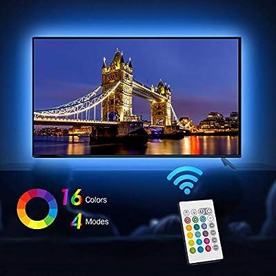 Tiras LED Iluminación (78.7in / 2m. en 4 bandas), EveShine RGB TV LED operadas con mando