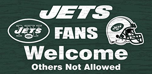 New York Jets Wood Sign - Fans Welcome 12x6