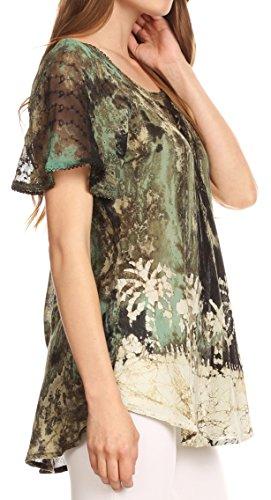 Marble Top Batik manches Sakkas Chemisier Celia courtes broderie avec Vert et crochet ApWqH5
