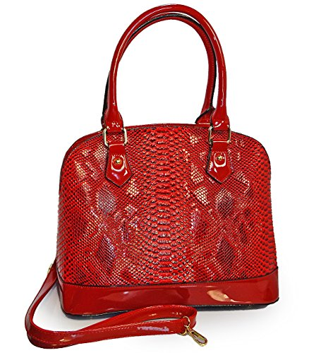 elegant-rimen-co-embossed-python-kiss-lock-top-dome-satchel-w-strap-red