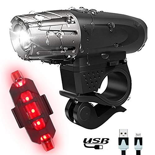 Luz de Bicicleta LEDs Luces Lámparas delantera para Bicicletas de montaña con Trasera iluminacion - Alta Lumens Super Brillante IP65 Impermeable con USB Batería Recargable Para Bici y Timbre Bicicl
