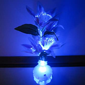 Shine DIY Stylable RGB Auto-Color Change Fiber Optic LED Flower Light Table Light Decorative Vase with Aluminum Base