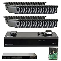 32 Channel 4K NVR IP PoE Video Surveillance System with (32) 5 Megapixel 1920P Outdoor 2.8-12mm Varifocal Zoom Bullet Security Camera (Pre-installed 2 x 4TB HDD, 4x HDD bay, up to 32TB total)