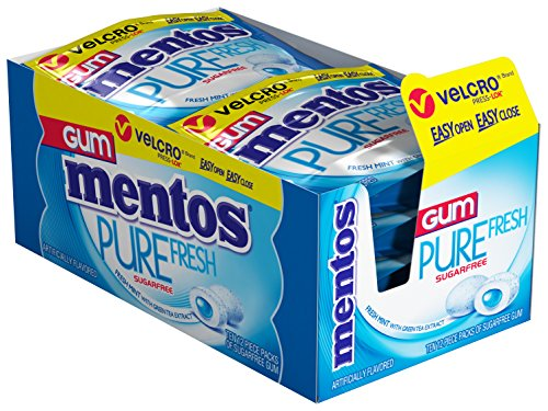 Fresh Breath Pouches (Mentos Pure Fresh Sugar-Free Chewing Gum with Xylitol, Fresh Mint, 12 Piece Resealable Pouch (Pack of 10))