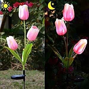 Outdoor Solar Tulip LED Flower Light, Homeleo Solar Garden Stake Flowers, Decorative Solar Patio Lawn Lamp, Path Landscape in-ground Light Up Flowers Lights(Pink)